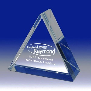 Thick Glass Triangle Trophy Paperweight Award