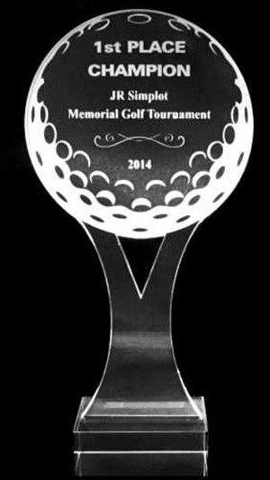 Acrylic Y Golf Ball Trophy Award