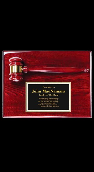 Rosewood Finish Plaque - Gavel and Metal Plate - 9