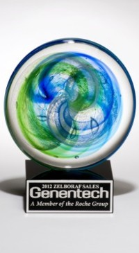 Color Crystal Ocean Blue Disc Trophy Award