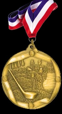 Gold Sports Medal with Neck Ribbon