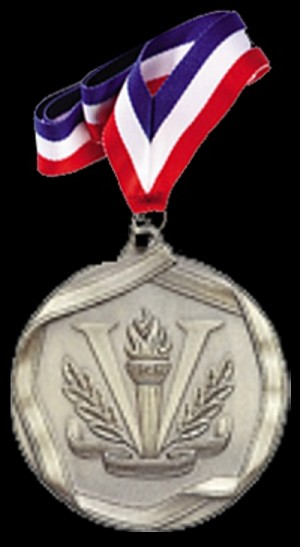 Victory Silver Sports Medal with Neck Ribbon