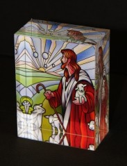 Stained Glass Jesus - Solid Crystal Block Trophy Award