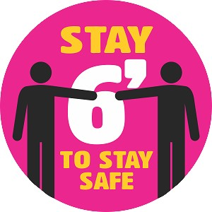 Coronavirus Social Distance Sticker - Stay 6' to Stay Safe - Packs of 15 Stickers