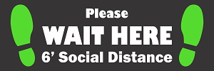 Social Distance Floor Sticker - Wait Here